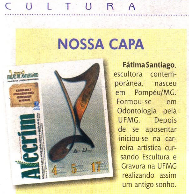 Jornal Alecrim – Nossa Capa: Escultora Fátima Santiago