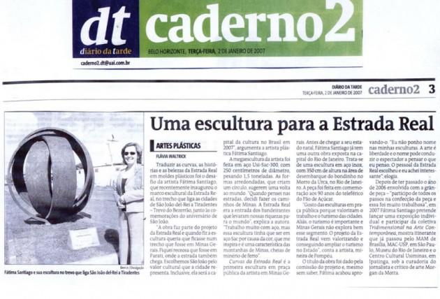 Jornal Diário da Tarde – Uma escultura para a Estrada Real